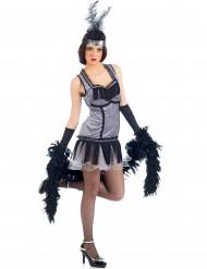 20er-Jahre Charleston-Kostüm für Damen grau-schwarz