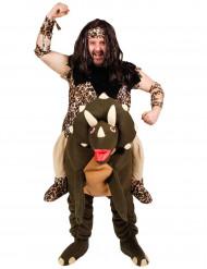 Kostüm Steinzeitmensch auf Dinosaurier für Erwachsene