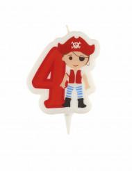 Piraten Geburtstagskerze Zahl 4