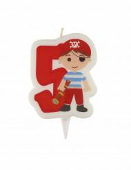 Geburtstagkerze mit Piratenmotiv Ziffer 5