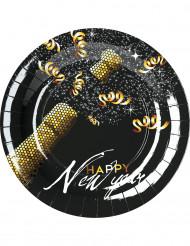 8 Party-Teller Happy New Year gold-schwarz 23 cm