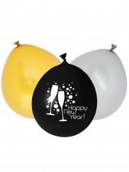 Luftballon-Set für Sylvester 12 Stück bunt 25cm