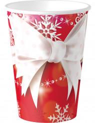 8 Pappbecher mit Weihnachtsschleife