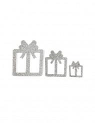 6 Geschenke Tischdeko-Set silber