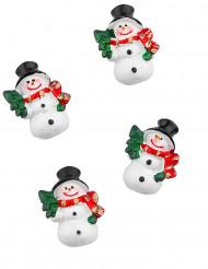 6 Schneemänner Weihnachtsdeko zum Aufkleben 3 cm