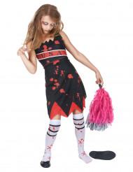 Zombie Cheerleader Kostüm für Mädchen rot-schwarz