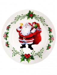 Weihnachtliche-Pappteller Weihnachtsmann 10 Stück weiss-rot-grün