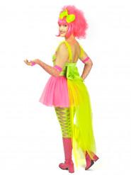 Neon-Kostüm mit Schleppe für Damen