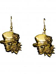 Goldene Ohrringe Totenkopf