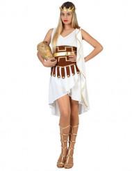 Griechisches Göttinenkostüm für Damen weiss-braun-goldfarben