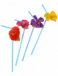 12 Hawaii - Strohhalme mit Blumen