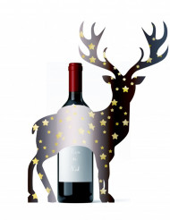 Flaschen-Dekoration Hirsch Weihnachten 33 x 43 cm