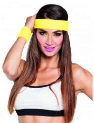 80er Set Schweißbänder und Stirnband gelb