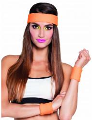 80er Set Schweißbänder und Stirnband orange