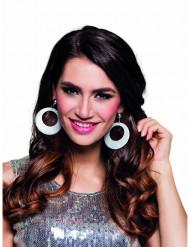 Glitzer-Ohrringe Kreolen für Damen silber