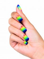 Künstliche Fingernägel zum Aufkleben Regenbogen bunt