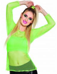 80er Netz-Shirt für Damen neongrün