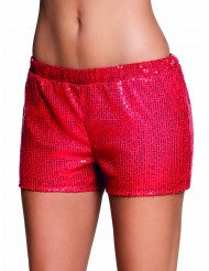 Pailletten-Shorts für Damen rot