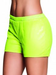 Hotpants mit neongelben Pailletten