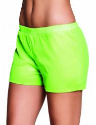 Pailletten-Shorts für Damen neongrün