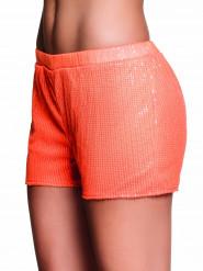 Pailletten-Shorts für Damen neonorange