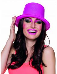 Pinker Zylinder mit Glitzer für Erwachsene neonfarben