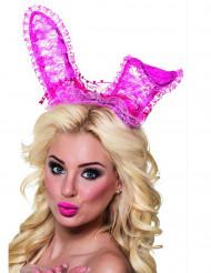 Hasenohren Spitze-Haarreif für Erwachsene pink