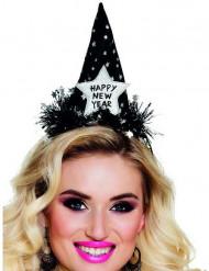 Partyhut Happy New Year für Damen schwarz-silber
