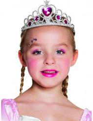 Prinzessin Diadem für Kinder silber-pink