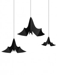 3 Hänge-Fledermäuse Halloweendeko schwarz
