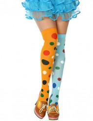 Clownfrau Strümpfe mit Punkten bunt