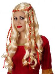 Mittelalterliche Königin Locken-Perücke blond