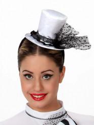 Mini Zylinderhut weiß für Damen
