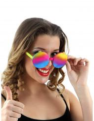 60er Regenbogen-Brille für Damen bunt