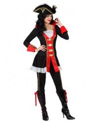 Admiralskostüm für Damen schwarz-weiss-rot