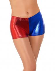 Kurze Harlekin Shorts für Damen rot-blau