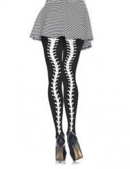 Skelett-Strumpfhose für Damen schwarz-weiß