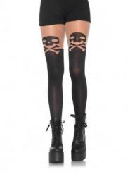 Totenkopf Strumpfhose für Damen schwarz-hautfarben