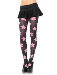 Strumpfhose mit Sternen rosa-schwarz