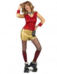 80er Jahre Kostüm rot-gold für Damen