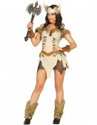 Sexy Wikingerin Kostüm für Damen beige