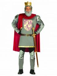 Ritterkönig Herrenkostüm grau-rot-goldfarben