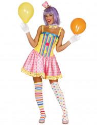 Clownkostüm für Damen in Pastellfarben