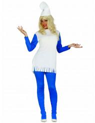 Süßer Zwerg Damen-Kostüm blau-weiß
