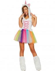 Süßes Einhorn-Kostüm für Damen weiß-bunt