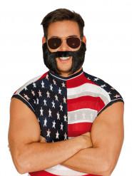 Schwarzer Bart mit Schnauzer für Erwachsene