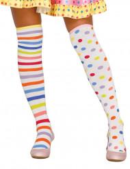 Clownfrau Kniestrümpfe für Damen Pastellfarben