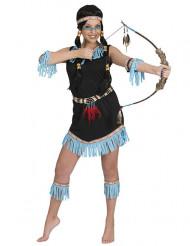 Indianerin Kostüm mit Fransen blau