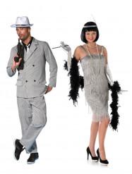 Gangster und Charleston Kostüm silber
