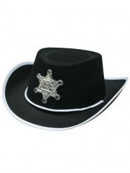 Cowboyhut Sheriff für Kinder schwarz